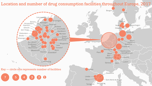 Location and number of drug consumption room facilities in Europe