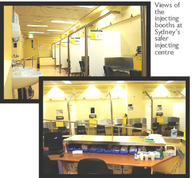 Views of the injecting booths at Sydney�s safer injecting centre