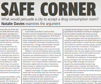 Drink and Drugs News article on what would persuade a city to accept a drug consumption room